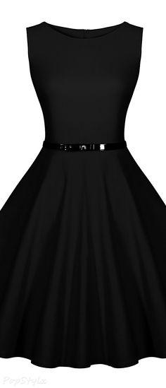 MIUSOL  Retro Casual Sleeveless Dress with