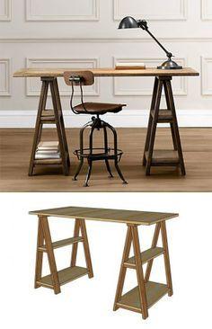 DIY Sawhorse Desks Inspired by Restoration Hardware