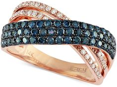 Bella Bleu by EFFY 14k Rose Gold Blue and White Diamond Ring (7/8 ct. t.w.) on shopstyle.com