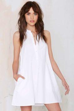 Leigh Lezark  White Shirt Dress