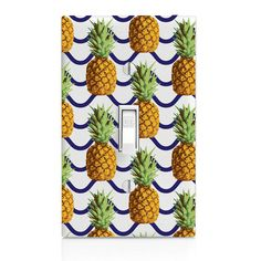 Light Switch Cover Pineapple Blue stripe by SwitchCoverSupply
