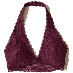 Hollister Removable-Pads Lace Halter Bralette ($17) ❤ liked on Polyvore featuring intimates, bras, bralette, tops, underwear, lingerie, undies, burgundy lace, bralette lingerie and lingerie lace bra
