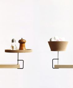 penchant-for-design:    French designer Inga Sempe has made an instant shelf and bowl for the new Portuguese company Materia. The materials is cork and metal.