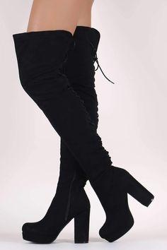 Wild Diva Lounge Corset Lace-Up Chunky Platform Heeled OTK Boots