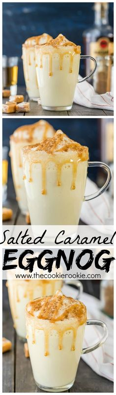 HOMEMADE SALTED CARAMEL EGGNOG! I never knew making eggnog was SO EASY! Made on the stove in under 15 minutes. Make it a cocktail or mocktail with ease! Our favorite Thanksgiving and Christmas drink recipe! (Christmas Recipes Easy)