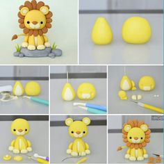 This mini lion king creation amazed me! Cute Polymer Clay, Polymer Clay Animals, Cute Clay, Polymer Clay Projects, Cake Topper Tutorial, Fondant Tutorial, Fondant Cake Toppers, Fondant Cakes, Fondant Girl