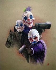 yeah clowns from the dark knight gang of joker in the begining part. my colour pencil assignment. prisma colour pencil on colour tex. The Dark Knight:Clowns Joker Clown, Joker Art, Creepy Clown, Joker Batman, Batman Art, Supergirl Superman, Joker Dark Knight, Les Oscars, Heros Comics