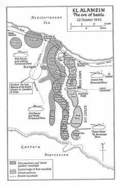 """A map showing the extent of the minefields known as the """"devil's garden"""" just before the 2nd Battle of Alamein"""