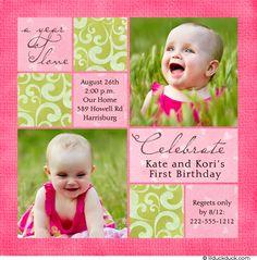 Twin birthday invitation craft ideas pinterest twin birthday twin girls first birthday invitations google search filmwisefo