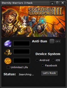 Completely new software to Eternity Warriors 3. Get it from us - http://www.etoolsworld.com/eternity-warriors-3-hack/ . Please write your opinion in the comments.