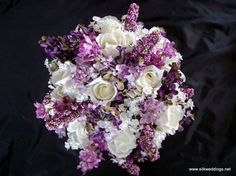 Romantic Roses and Lilacs Wedding Bouquet Set 14 piece by Etsy shop owner SilkWeddings