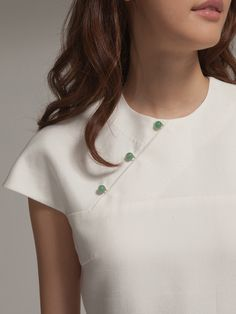 Silk cotton twill dress with jade buttons By Shanghai Tang Neckline Designs, Dress Neck Designs, Couture Details, Fashion Details, Kurta Designs, Blouse Designs, Diy Clothes, Clothes For Women, Sewing Blouses