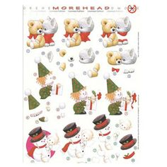 3D Precut Morehead Snowman, Ted/Kitty & Clown . This 3D sheet will make 3 separate cards and requires No Cutting, just press out the shapes and layer them with foam tabs or 3D glue according to the number. They are so fast and look perfect every time. They have cute little children and animals for your cards or scrapbook pages.