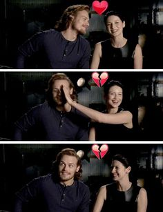 """Sam: """"Do you believe in love at first sight?"""" Caitriona: """"Um... do I believe in love at first sight?""""  Sam: """"Clearly not.""""  Caitriona: """"You know what no, I don't. I believe in... lust at first sight. But I think love takes time to grow and develop."""""""