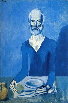 Week 3 pin 3. This painting is called Ascet by Pablo Picasso. This is good art because the way it stands out, the man in a blue shirt eating and a blue wall behind him. The colors just blend making it very good art.