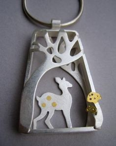 Fawn Pendant - Small. A small fawn shelters under the trees deep in the magical wood. silver and 24ct gold foil. size approx 3 x 2.5cm cm. Available with 16inch or 18inch chain. £195