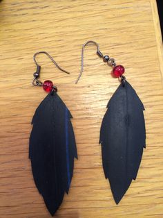Earrings crafted and assembled by hand created from mostly recycled materials (bicycle inner tubes)
