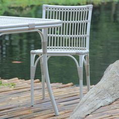 Plantation Dining Chair.   All weather wicker chair. Aluminium & Resin rattan.  #white #wicker