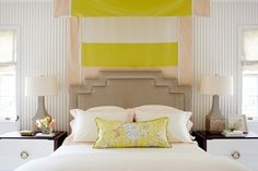 I like the shape of the lamps and the yellow accent pillow