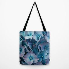 Art Print Tote Bag with Blue Hydrangeas Floral by AmandaJaneDalby