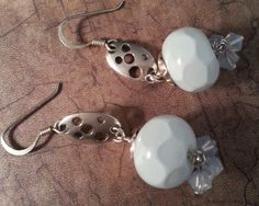 Honeycomb Pattern Lampwork Glass Earrings with Sterling Silver Drops by ASplashOGlass on Etsy