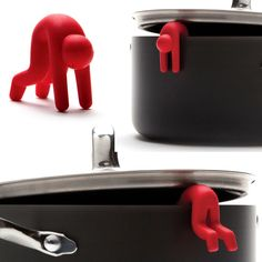 Letting off steam! This little guy sacrificed himself for the greater good of the saucepan. Lid Sid will keep the covers of your pots and pans open when they need some air,and will raise smiles whenever you use him. - $14.95