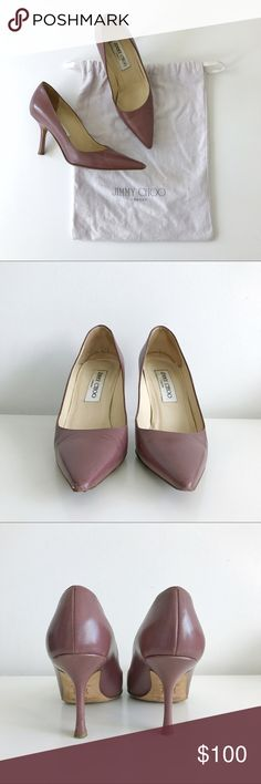 """⭐️ Jimmy Choo pumps, size 5 (35) Purple lavender leather pointed-toe pumps with covered heels from Jimmy Choo. Includes dust bag. Classic style.   Size 5, heel 3""""  Condition: good - light exterior and interior scuffs and marks, scuffed toe points and small nick on left heel as shown in photos Jimmy Choo Shoes Heels"""