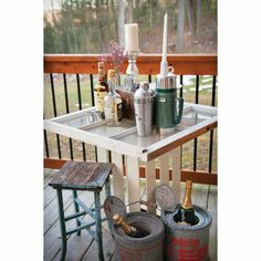 Throw a Cabin Fever Bachelorette for the bride-to-be! Check out our vintage bar decor and more at mywvwedding.com.