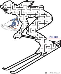 Downhill Skier Maze You are in the right place about Olympics 2020 Olympics, Winter Olympics, Printable Mazes, Printables, Adapted Pe, Maze Worksheet, Cartoon Coloring Pages, Skiing, Snowboarding