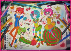 Fanart by sketch-party. Dirk Strider, Jake English, Roxy Lalonde and Jane Crocker in Trickster mode from Homestuck.