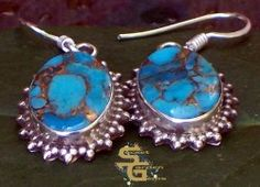Blue Copper #Turquoise #Earrings 925 Sterling Silver #SYLink