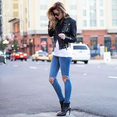 white jeans moto boots - Google Search