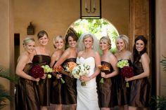 Chocolate brown bridesmaids dresses.