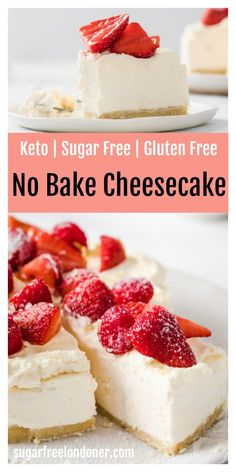 This easy no bake sugar free cheesecake has a silky-smooth, creamy filling and a buttery almond flour crust. It's a low carb cheesecake recipe the whole family is going to love - in fact, you'd never guess it's sugar free, gluten free and keto. My kids both asked for seconds! #nobakecheesecake #ketocheesecake #sugarfreecheesecake #lowcarbcheesecake Sugar Free Deserts, Low Sugar Desserts, Sugar Free Sweets, Sugar Free Recipes, Gluten Free Desserts, Gluten Free Recipes For Diabetics, Sugar Free Cakes, Diabetic Desserts Sugar Free Low Carb, Desserts For Diabetics