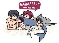Feeding Time by Fayolinn (Rin claims that hunting for four is heavy labour so he needs to be coddled too) ... Free! - Iwatobi Swim Club, free!, iwatobi, rin matsuoka, matsuoka, rin, haru, haruka, nanase, haru nanase, haruka nanase, merman, same, zuka