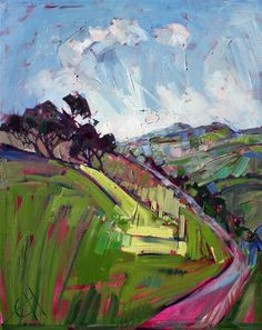 Expressionistic oil painting landscape by modern painter Erin Hanson #LandscapeArtists