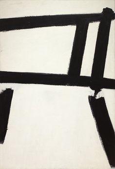 "White Forms, 1955 | Franz Kline (American, 1910–1962) | Oil on canvas, 6' 2 3/8"" x 50 1/4"" | Museum of Modern Art"