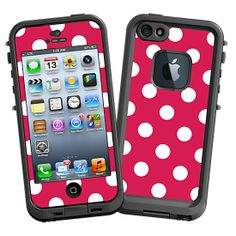 White Polka Dot on Berry #Skin  for the #lifeproof #iphone5 and #iphone5s #Case by #Skinzy.com