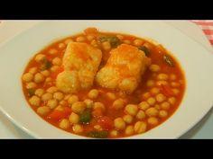 Receta de garbanzos con bacalao fácil y tradicional - YouTube Spanish Food, Spanish Recipes, Chana Masala, Ethnic Recipes, Youtube, Gastronomia, Shape, Plate, Legumes