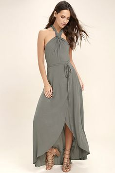 Lulus Exclusive! End your wishing for the perfect number, and claim the Marisha Washed Olive Green Halter Wrap Dress! Gauzy rayon starts at a tying halter neck (with elasticized back) and falls to a wrap bodice with tying sash belt. Wrapping detail carries into the high-low maxi skirt.
