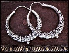 Tibetan Hoop Earrings  XXL  Ethnic Tribal Hoop Earrings