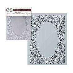 SIZZIX A6 LARGE EMBOSSING FOLDER OVAL HOLIDAY FRAME CHRISTMAS HOLLY CANDLES