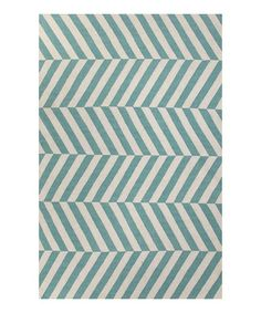 Look at this #zulilyfind! Blue & Ivory Stripe Wool Rug #zulilyfinds
