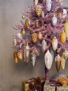NATURE STUDY | The seeds of conifer trees called pine cones are represented well in all their stunning variety with my growing collection of mercury glass ornaments. As seen at www.thedecoratedtree.blogspot.com