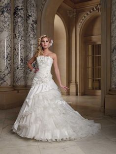 taffeta strapless flower asymmetric tiered ruffled organza skirt ball gown wedding dress