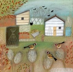 By my lovely mate Louise Rawlings (goldfinches) Allotment Gardening, Spring Art, Naive Art, Art Themes, Illustrations And Posters, Beach Art, Garden Art, Garden Ideas, Art Images