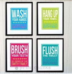 Bathroom Print - Kids Bathroom -Personalized  Bathroom Typography Prints - Set of 4  8 x 10 via Etsy