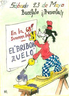 Cartell il·lustrat realitzat per la bibliotecària Natália Henrández on presenta l'activitat de l'Hora del Conte pel dia 23 de maig de 1953 a la biblioteca Pare Miquel d'Esplugues de Llobregat.