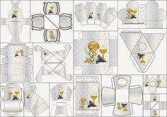 Primera Comunión: Cajas con Diseño en Plateado y Ángeles de Precious Moment para Imprimir Gratis.