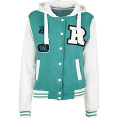 Green College Sweat Jacket ($15) ❤ liked on Polyvore featuring outerwear, jackets, tops, shirts, casacos, pocket jacket, studded jacket, hooded jacket, fleece lined hooded jacket and fleece lined jacket
